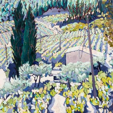 1156-Montmirail-to-Gigondas-20ins-x-20ins-oil-on-canvas
