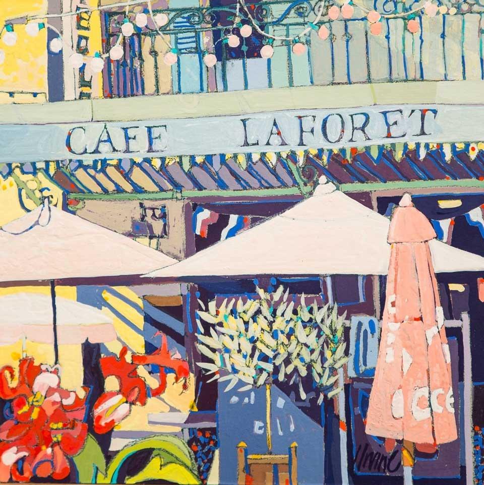 1161-Cafe-Laforet-Provence-8ins-x8ins-gouache