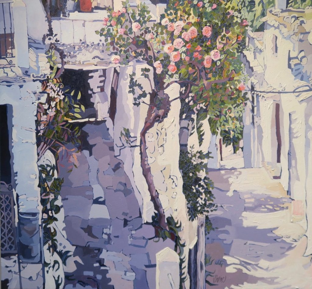 1163-Rose tree mountain village Sierra Navada oil on canvas 38ins x 40ins £4,000