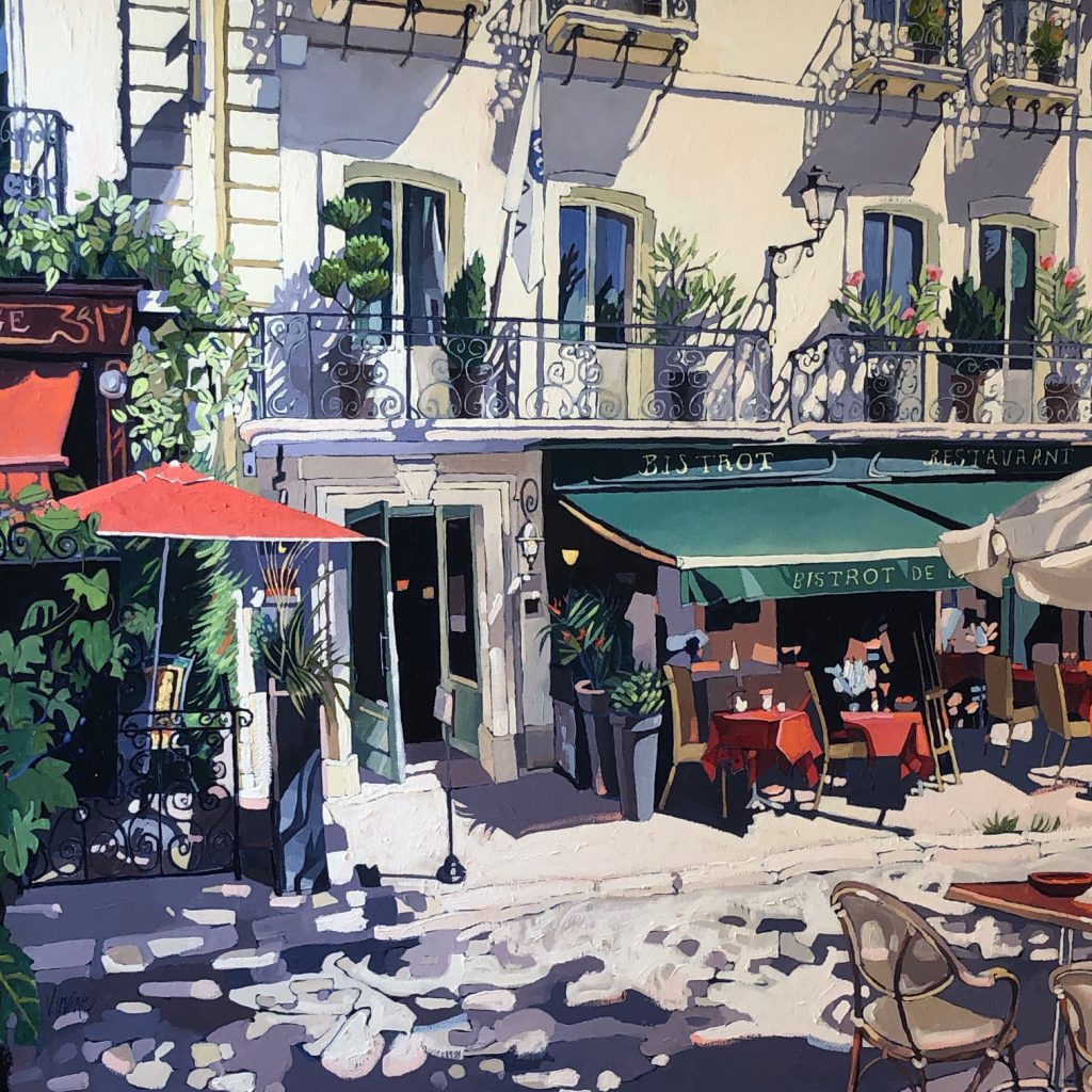 1164-Bistrot, Chino oil on canvas, 40ins x 40ins, £4,000