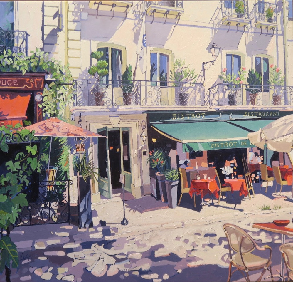1164-Bistrot Chinon oil on canvas 38ins x 40ins £4000