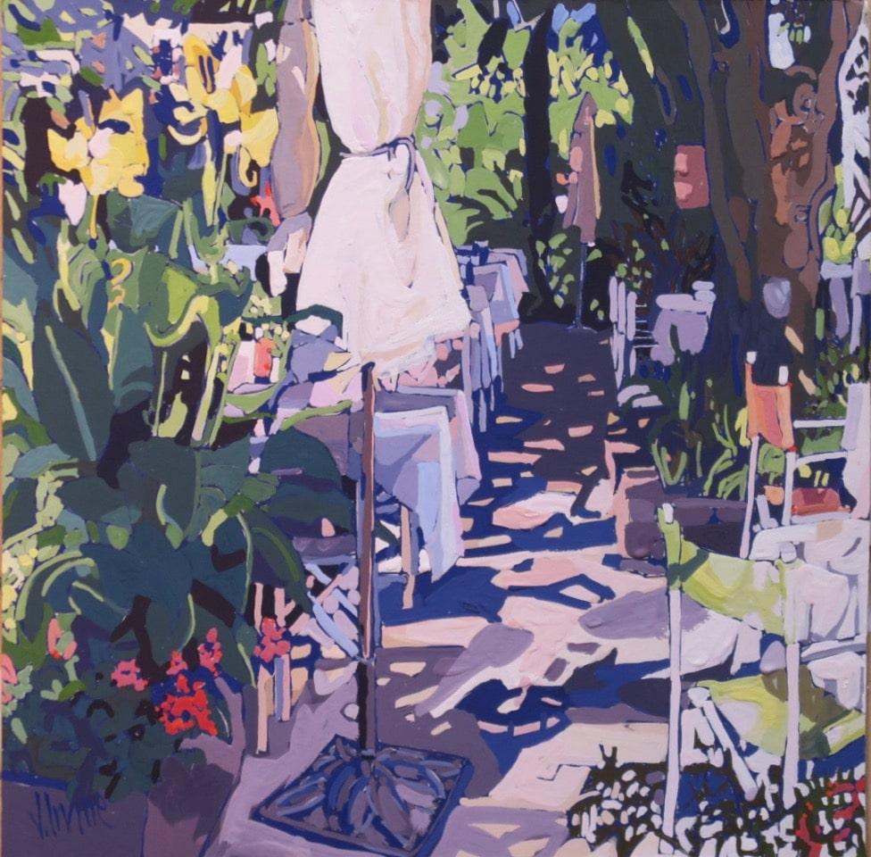 1165-La terrasse Monmirail 12ins x 12ins gouache £1000