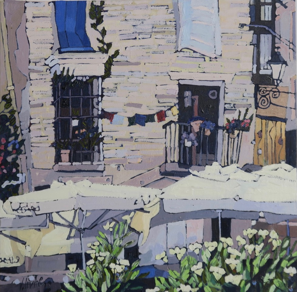 1166-Street cafe Granada 12ins x 12ins oil on board £1000