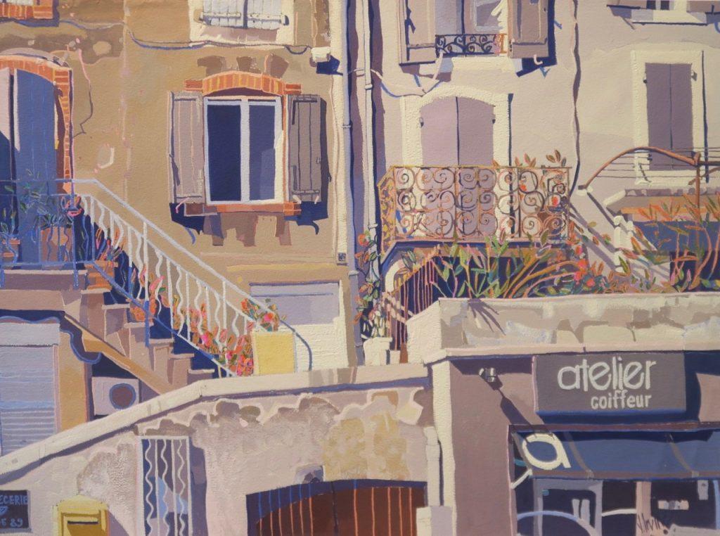 1167-Atelier coiffeur Provence gouache 28ins x 21ins £2000