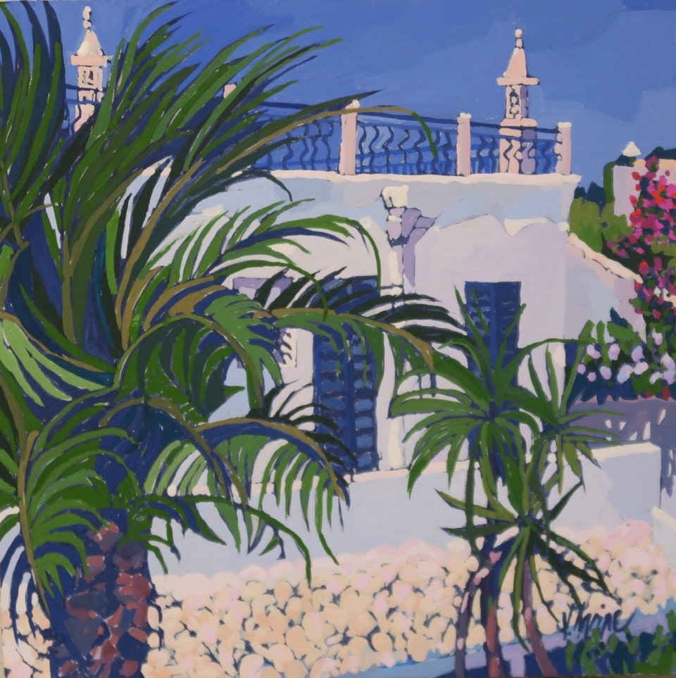 1169-Casa grande rooftop view Portugal 8ins x8ins gouache £700