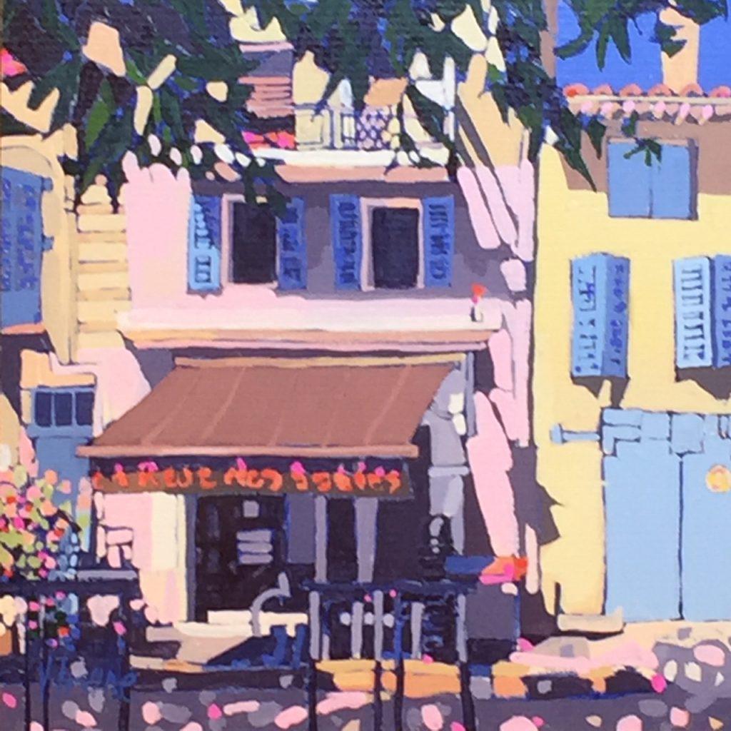 1182-Street café Provence 8ins x 8ins gouache £600
