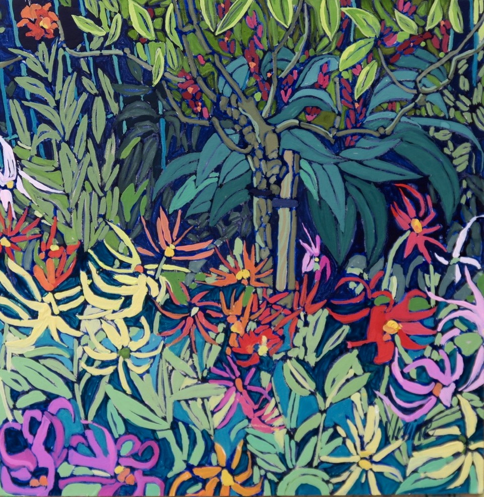 1184-The garden Giverny gouache 8ins x 8ins £600
